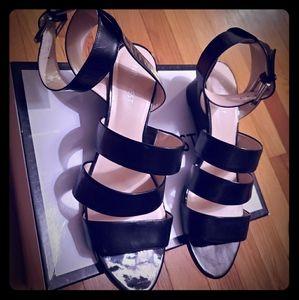 Nine West Black 2 inch Wedge strappy sandal